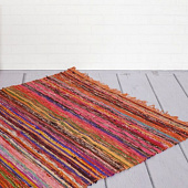 Ковёр из переработанного хлопка, Recycled Cotton Rug Thin Stripes Multicolor, Handmade, произв. MYINDIA