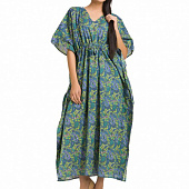 Хлопковое платье-кафтан, Cotton Kaftan Dress Deep Green Weave, Handmade, произв. MYINDIA