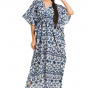 Хлопковое платье-кафтан, Cotton Kaftan Dress Blue And White Pattern, Handmade, произв. MYINDIA