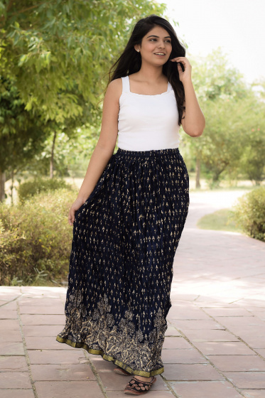 Хлопковая юбка, Cotton Dark Skirt with Pattern, Handmade, произв. MYINDIA