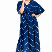 Хлопковое платье-кафтан, Cotton Kaftan Dress Tie-Dye Dark Blue, Handmade, произв. MYINDIA
