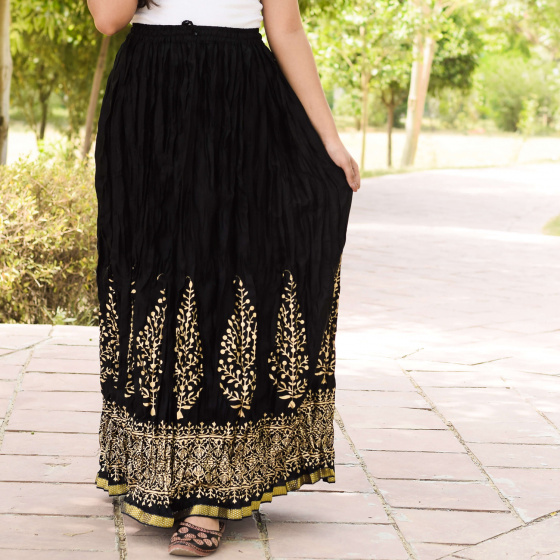 Хлопковая юбка, Cotton Black Skirt Trees Pattern, Handmade, произв. MYINDIA
