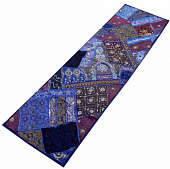 Саше лоскутное на кровать, Cotton Bedrunner Indigo Base Patchwork Pattern, Handmade, произв. MYINDIA
