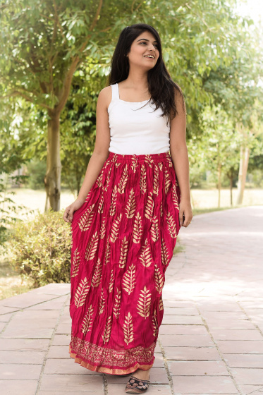Хлопковая юбка, Cotton Cherry Skirt Leaves Pattern, Handmade, произв. MYINDIA