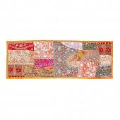 Саше лоскутное на кровать, Cotton Bedrunner Orange Base Patchwork Pattern, Handmade, произв. MYINDIA