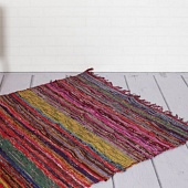 Ковёр из переработанного хлопка, Recycled Cotton Rug Striped Purple, Handmade, произв. MYINDIA