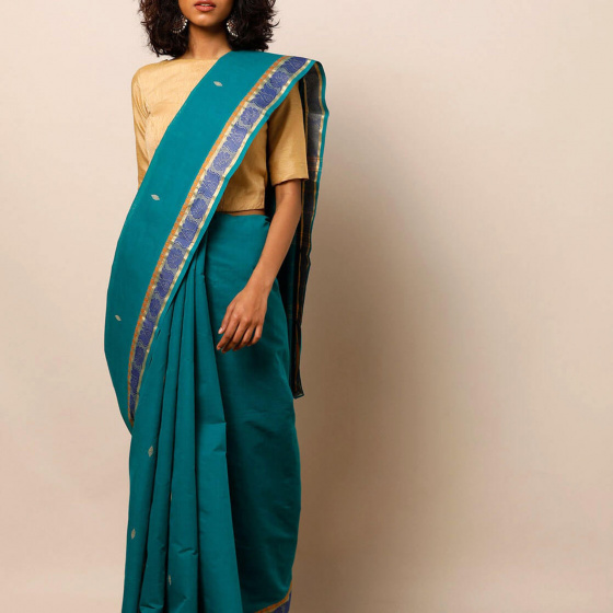 Бирюзовое сари, Theni Cotton Saree with Thread Zari Border, произв. MYINDIA