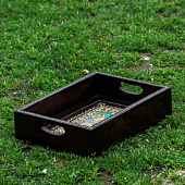 Деревянный поднос, Wooden Tray Brown Floral, Handmade, произв. MYINDIA