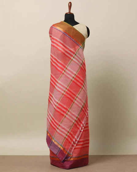 Клетчатое сари розовое, South Cotton Striped Saree with Contrast Border, произв. MYINDIA
