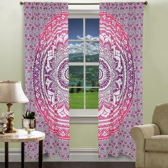 Хлопковые шторы мандала, Cotton Curtains Mandala Pink on White, Handmade, произв. MYINDIA