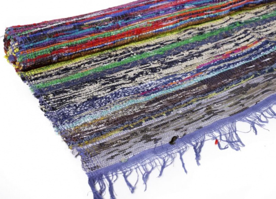 Ковёр из переработанного хлопка, Recycled Cotton Rug Multicolor, Handmade, произв. MYINDIA