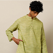 Курта салатового цвета, Bijnor Short Kurta Lime, произв. MYINDIA