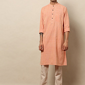 Курта персиковая удлиненная, Bijnor Long Kurta Peach, произв. MYINDIA