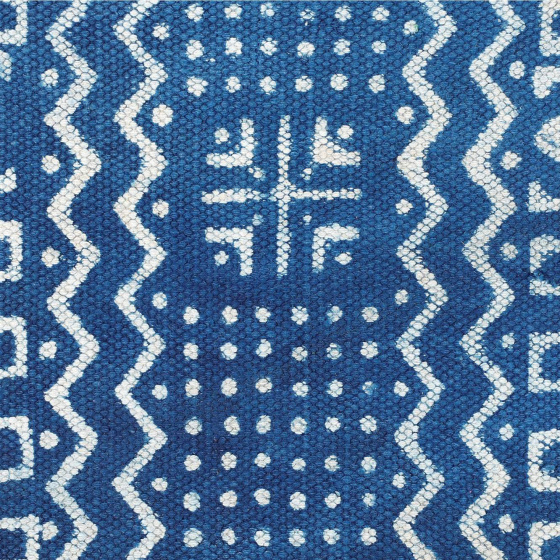 Саше на кровать, Indian Cotton Bedrunner Indigo Base Abstract Pattern, Handmade, произв. MYINDIA